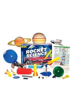 "Free shipping and returns on Thames & Kosmos 'Rocket Science' Experiment Kit at Nordstrom.com. How to become a rocket scientist? This kit is a good start. A step-by-step manual guides kids (and adults) through 18 mind-propelling experiments, from a ""stomp on"" rocket launcher to water- and air-powered models that demonstrate action, reaction, gravity and inertia. So whether you're wondering about air pressure or trying to escape Earth's gravitation pull, this all-inclusive bundle makes a fun ..."