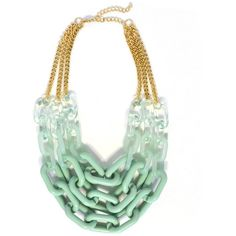 Mint Triple Links ($25) ❤ liked on Polyvore featuring jewelry, necklaces, chain necklaces, mint statement necklace, mint green necklace, mint necklace and chains jewelry
