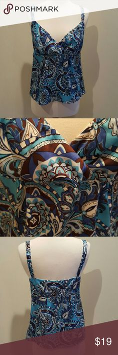 """Ann Taylor tank top Beautiful like new tank in blue, brown and white. Hidden side zipper. 23"""" long. Bustline 17"""".  91% silk and 9% spandex. Bust is lined in 100% polyester. Ann Taylor Tops Tank Tops"""