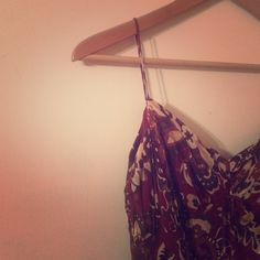 Floral Burgundy Empire Waist Spaghetti Strap Dress Like new condition.  Beautiful doesn't even begin to describe this dress!  Cut the size tag out because it was bothering me but if fits like a small Ann Taylor Dresses Midi