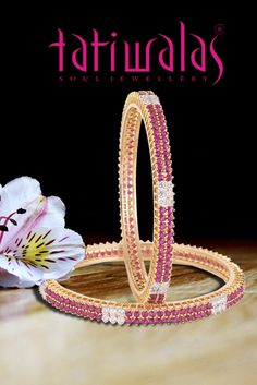 Let's create a sparkle in every step you take with the magnificent collection by Tatiwalas. Royal Jewelry, Ruby Jewelry, Gold Jewelry, Beaded Jewelry, Ruby Bangles, Bangle Bracelets, Gold Bangles Design, Jewelry Design, Diamond Bangle