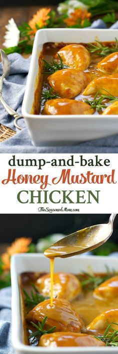 You only need 5 minutes and 5 ingredients for this healthy dinner: Dump-and-Bake Honey Mustard Chicken!