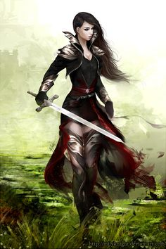 Swords in Art Lady knight by ~milyKnight