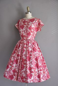 vintage 1950s dress. 50s soft polished cotton red and pink