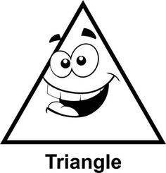triangle with cartoon face coloring page - Triangle Instrument Coloring Page