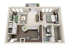Small Studio Apartment Layout Design Ideas - home design Layouts Casa, House Layouts, Studio Apartment Layout, Apartment Design, Apartment Ideas, 1 Bedroom Apartment, One Bedroom, Single Apartment, Bedroom Small