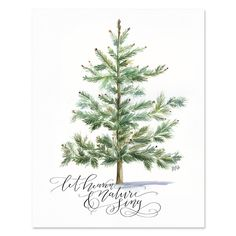 Lily & Val – Let Heaven & Nature Sing - Print & Canvas - Winter Art - Illustrated Art - Holiday Decor - Christmas Print - Winter Decor Watercolor Christmas Cards, Watercolor Cards, Painted Christmas Cards, Christmas Time, Christmas Crafts, Christmas Decorations, Homemade Christmas, Holiday Decorating, Lily And Val
