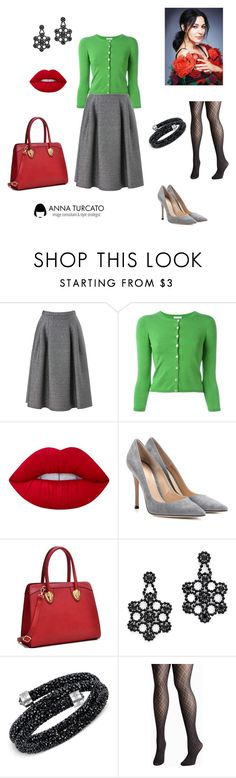 """""""Greenery for Winter"""" by annaturcato ❤ liked on Polyvore featuring Phase Eight, P.A.R.O.S.H., Lime Crime, Gianvito Rossi, Caprice, Kate Spade, Swarovski and Avenue"""