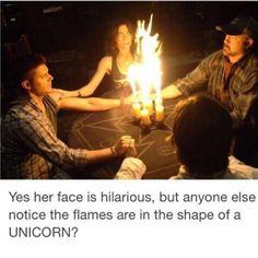 Flames are in the shape of a unicorn Awww Castiel is Megs unicorn ❤