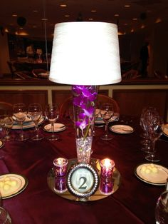 lamp shade centerpieces for weddings purple | Here was my D.I.Y. centerpiece: