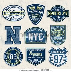 College New York, Brooklyn typography patches, t-shirt graphics. Badge Design, Label Design, Typography Design, Logo Design, School Spirit Wear, Fashion Words, Vintage Labels, Vintage Logos, Patch Design