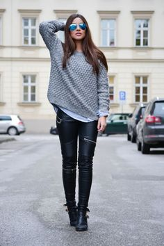 love! leather leggings and sweater
