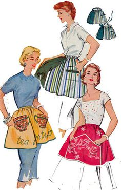 1950s McCall 1982 Half Apron with Transfers One Size Vintage 50s Sewing Pattern on Etsy, Sold