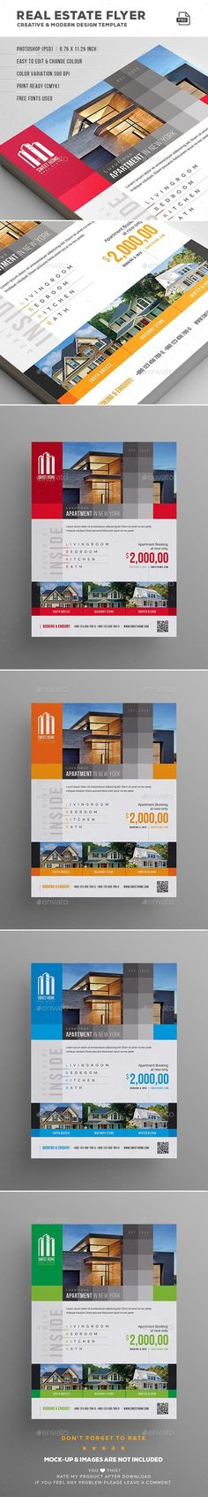 FEATURES:Easy customizable and editable 300 DPI CMYK Print Ready! x with bleed settings) 100 Layered and Full Editable 04 PSD Files with different color variations Help Guide Included Print Ready Format Images are not included in the down Real Estate Flyers, Real Estate Marketing, Real Estate Flyer Template, Luxury Portfolio, Print Design, Graphic Design, Commerce, Business Inspiration, Print Templates