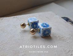 Portugal Antique Azulejo Tile Front Back DOUBLE Replica by Atrio
