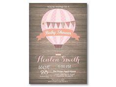 Aire caliente globo bebé ducha invitación. por happyappleprinting