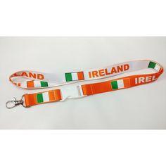 Ireland flag orange/white reversible lanyard/keychain