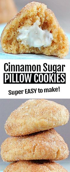 How to make easy cinnamon cookies at home that taste like snickerdoodles filled with cream cheese! #cookies #cookierecipes #easyrecipes #dessert #recipe #food #creamcheese #cinnamon #sugar #home #homemade #diy #howto