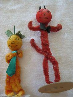 Vintage Halloween 50's Chenille and Spun Cotton Head JOL and Devil figures   #476795576