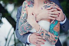 ink, tattoos, hands, arms, a cute photo, wedding