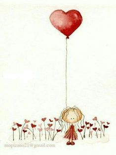 Discover ideas about cute illustration Illustration Art, Illustrations, Happy Paintings, Watercolor Cards, Watercolour, Heart Art, Whimsical Art, Doodle Art, Cute Drawings