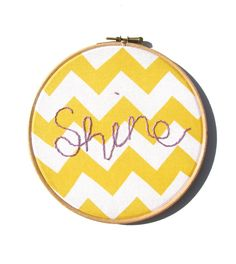 Shine   Modern Embroidery Art  in Yellow and White by mirrymirry, $26.00
