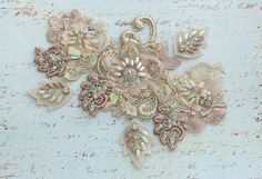 Gold/Nude Beaded Lace Applique by MagicalMysteryTuca on Etsy