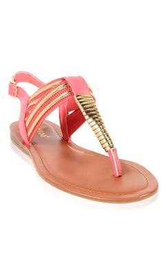 Deb Shops #coral #metallic wrapped #sandal
