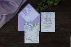 """Купить Приглашение на свадьбу """"Сирень"""" - сиреневый, приглашение на свадьбу, приглашения на свадьбу, свадебная полиграфия, приглашение"""