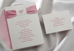 Rose pink Wedding Invitations with ribbon by Wedding Invitations -The Office Gal. T1540RO  Rose colored satin ribbon is included! A single initial is featured inside an embossed frame at the top.