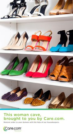 Ideas for dream shoe closets and organized spaces.  Help for moms