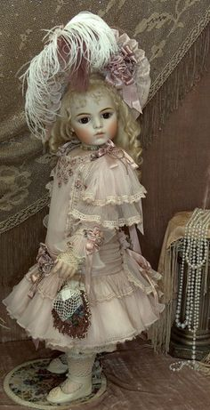"""27"""" An absolutely beautiful BRU ♥ ♥ ♥  Doll by Mary Benner <3 Dress by Dollightfully Yours * Cheryl Imbornone"""