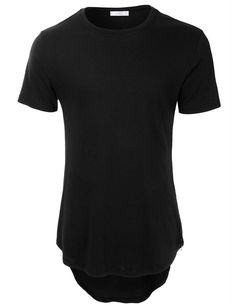 LE3NO Men Hipster Crewneck Short Sleeve Longline T Shirt with Zipper