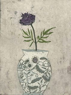Peony - Kirsi Neuvosen , Finnish, Etching, aquatint , 20 x 15 cm. Contemporary Artists, Modern Art, Kate Pugsley, Soft Colors, Colours, Drypoint Etching, Water Lilies, Helsinki, Tattoos