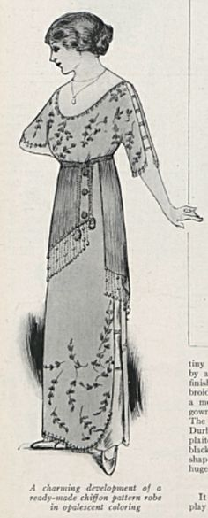"""A charming development of a ready-made chiffon pattern robe in opalescent coloring."" 1912"