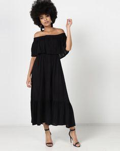 ba3d180131fb Utopia Bardot Maxi Dress Black