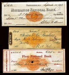 #RN-C1 #RN-F1 #RN-G1 Revenue Stamped Bank Checks 1870s-1883 3 items - Visit LittleArtTreasures.com or http://stores.ebay.com/Little-Art-Treasures