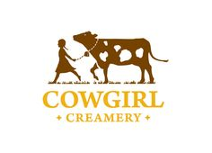 Cowgirl Creamery re-branding project set, including letterhead, recipe book and website design. Cow Logo, Farm Logo, Logo Branding, Branding Design, Milk Packaging, Dairy Packaging, Cheese Packaging, Innovative Logo, Vintage Labels