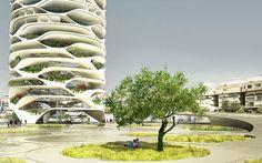 Gran Mediterraneo tower, green tower, Tel Aviv, glass skyscraper, Israel, David Tajchman, automated car park, automated parking, green skyscraper, green architecture, mirrored glass, community garden, driverless cars