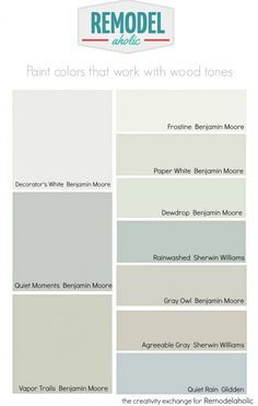 colors that work well with wood trim and floors. Don't make these common paint mistakes!Paint colors that work well with wood trim and floors. Don't make these common paint mistakes! Best Paint Colors, Interior Paint Colors, Wall Colors, Interior Painting, Interior Design, Paint Colours, Trim Paint Color, Color Walls, Interior Ideas
