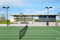 The tennis court and pavilion on interior designer Sara Story's Texas compound, a collaboration between Story and Lake|Flato architects