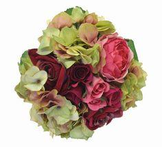 Tall Silk Rose Hydrangea Wedding Bouquets Rose Green   Wedding Flowers