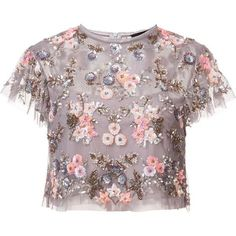 Needle & Thread floral embellishment cropped blouse ($440) ❤ liked on Polyvore featuring tops, blouses, pattern blouses, embellished tops, print top, print blouse and floral print crop top - blouses, striped, ruffle, dress, dress, white blouse *ad