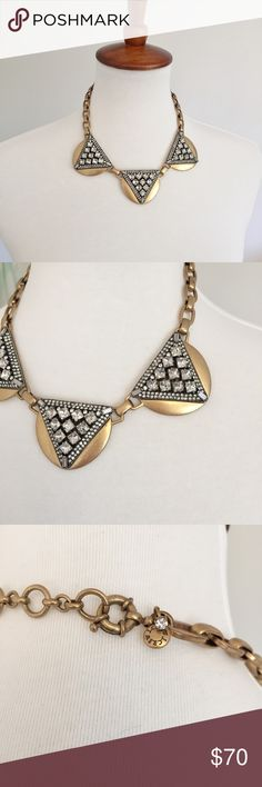 """J. Crew • Crystal Triangles Necklace PRODUCT DETAILS Crystal-studded metal with an architectural Art Deco vibe. Like new condition - no flaws.   Glass, brass, zinc. Light gold plating. SIZE & FIT Length: 15"""" with a 2 1/4"""" extender chain for adjustable length. ✨Check out my closet for J. Crew Jewelry! New items posted almost daily J. Crew Jewelry Necklaces"""