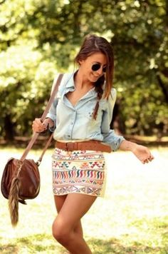 love the jean shirt with this skirt!