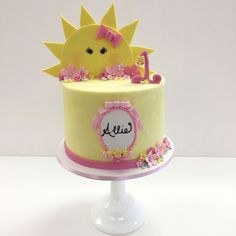 You are My Sunshine themed Buttercream birthday cake with fondant details by Frost It Cakery. Pink and yellow cake. Sunshine Birthday Cakes, Yellow Birthday Cakes, Sunshine Cake, First Birthday Cakes, Birthday Kids, Fondant Cakes, Cupcake Cakes, Buttercream Birthday Cake, Buttercream Frosting
