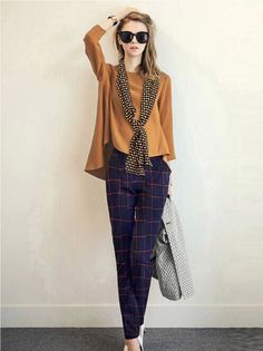 Buy Brown Top With Plaid Pants And Polka Dot Scarf