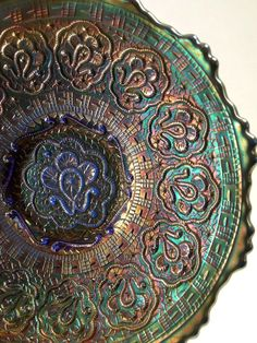 Rare Blue Vintage Fenton Carnival Glass Bowl by BoudreauCollection