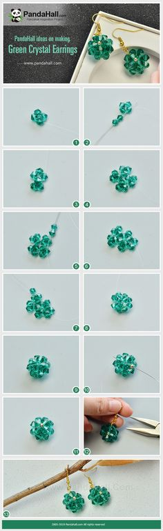 Ideas on Making Green Crystal Earrings - Diy And Crafts How To Make Earrings, Beaded Earrings, Crystal Earrings, Earrings Handmade, Jewelry Making Tutorials, Jewelry Making Beads, Jewellery Making, Diy Schmuck, Schmuck Design