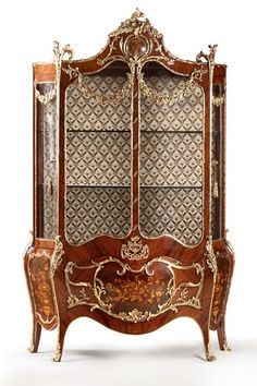 Francois Linke French Louis XV ormolu-mounted marquetry bombe Vitrine, late century French ormolu-mounted marquetry bombe vitrine of Louis XV style, on the Francois Linke manner, late century Egyptian Furniture, Antique French Furniture, Italian Furniture, Classic Furniture, Furniture Styles, Rococo, Baroque, Corner Furniture, Home Decor Furniture